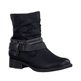 FLAT BLACK BOOT WITH STRAPS