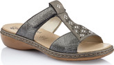 Rieker - BLACK METALLIC SLIDE SANDAL