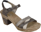 Rieker's Black Summer Comfortable Sandals with Tan Snake