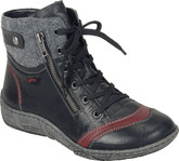 Stylish Black Lace Up Boots by Remonte with A Wool Patch At Top