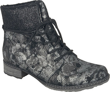 Remonte - BLACK BOOT W/ SILVER FLOWERS
