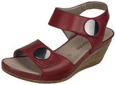 RED WEDGE SANDAL W BUTTONS