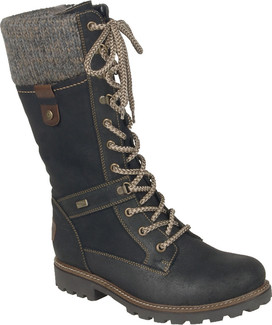 Remonte - D7477-02 - TALL BLACK LACE UP BOOT