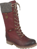 Remonte - TALL RED LACE UP BOOT
