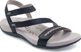 Aetrex Gabby Black Strap Sandals with Microfiber Footbed
