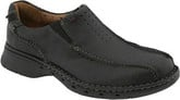 Clarks Black Leather Unseal Loafers with Lightweight Outsole