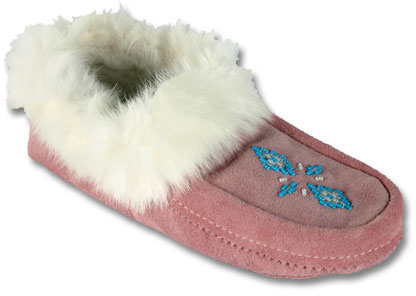 PINK BEADED SUEDE MOCCASIN Quarks Shoes