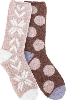World's Softest - COZY CREW 2 PACK ROSE DOT ROSE FAIR ISLE