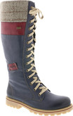 Rieker - NAVY TALL LACE UP BOOT