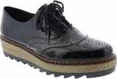 Rieker - BLACK BROGUE PLATFORM SHOE
