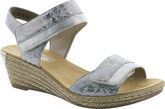 Rieker - GREY WEDGE WITH HALTER STRAP