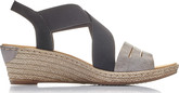 Rieker - BLACK/GREY CRISS CROSS WEDGE
