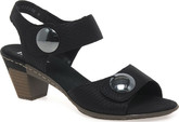 Rieker - 2 BUTTON HEELED SANDAL BLACK
