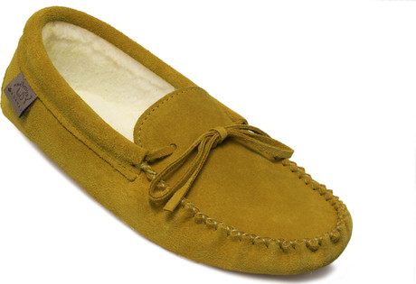 Eugene Cloutier - 748IND - WOMENS TAN SUEDE LINED SLIPPER