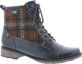 Remonte - NAVY PLAID LACE UP BOOT