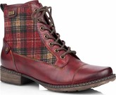 Remonte - RED PLAID LACE UP BOOT