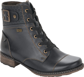 Remonte - BLACK LACE UP BOOT W/BUCKLE
