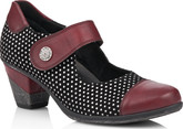 Remonte - BLACK/RED MARY JANE ON HEEL