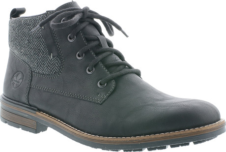 Rieker - BLACK AND GREY LACE UP BOOT