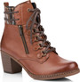 TAN HEELED LACE UP BOOT