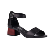 Remonte - BLACK SANDAL W/RED HEEL