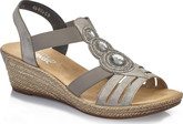 Rieker - SILVER/GREY WEDGE SANDAL