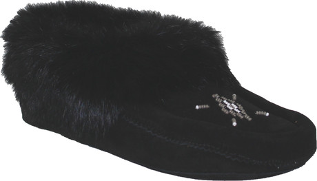 Urban Trail - BEADED MOCC W/FUR TRIM BLACK