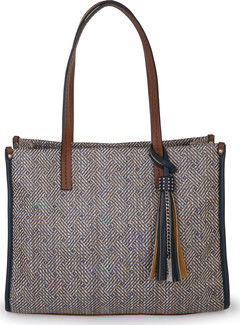 Joanel - TOTE BAG IN STRAW WITH FAUX LEATHER TRIM BLACK