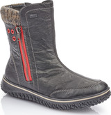 Rieker - BLACK BOOT WITH RED ZIPPER